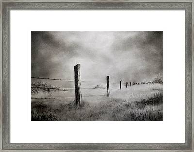Barbed Wire Fence Framed Print by Prateek Sabharwal