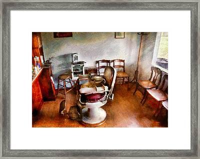 Barber - We Accept Children Framed Print by Mike Savad