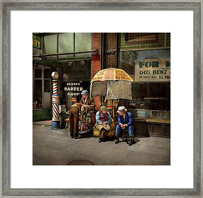 Barber - At Nelson's Barber Shop 1937 Framed Print by Mike Savad