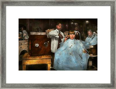 Barber - Portable Music Player 1921 Framed Print by Mike Savad