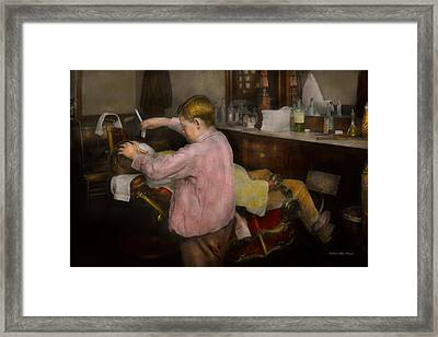 Barber - Shaving - Faith In A Child - 1917 Framed Print by Mike Savad
