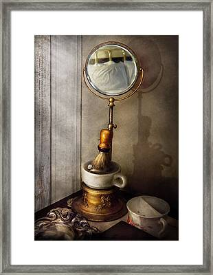 Barber - The Morning Shave  Framed Print by Mike Savad