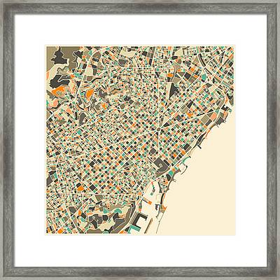 Barcelona Map Framed Print by Jazzberry Blue