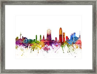 Barcelona Spain Cityscape 06 Framed Print by Aged Pixel