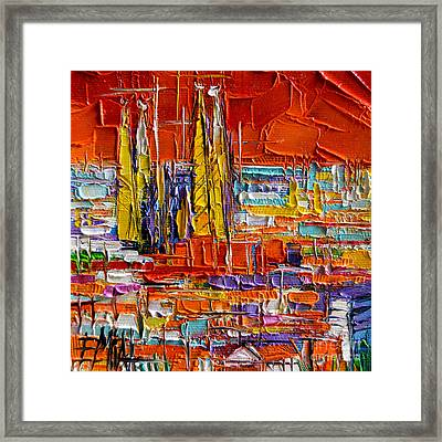 Barcelona View From Parc Guell - Abstract Miniature Framed Print by Mona Edulesco