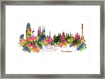 Barcelona Watercolor Skyline Framed Print by Marian Voicu
