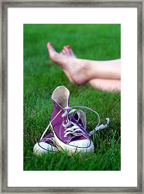 Barefoot In The Grass Framed Print by David April
