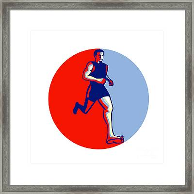 Barefoot Runner Running Front Circle Framed Print by Aloysius Patrimonio
