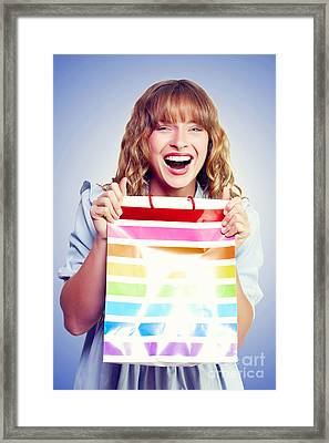 Bargain Shopping Woman Laughing With Joy Framed Print by Jorgo Photography - Wall Art Gallery