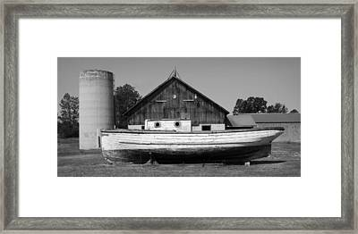 Barn And Boat - Door County Framed Print by Stephen Mack