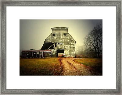 Barn And Horse Trailer Framed Print by Mark Orr