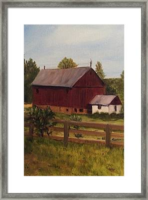 Barn And Milk House Framed Print by Betty Pimm