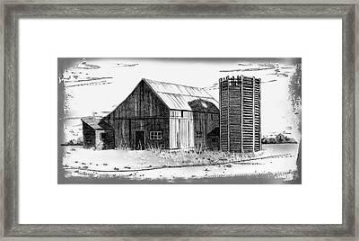 Barn And Silo Distressed Version Framed Print by Joyce Geleynse