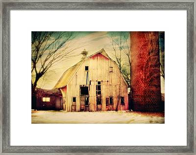 Barn And Silo Framed Print by Julie Hamilton