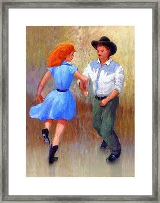 Barn Dance Couple Framed Print by John DeLorimier