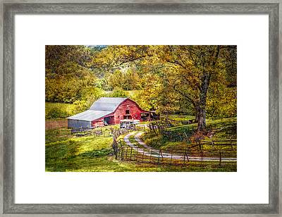 Barn In The Valley Framed Print by Debra and Dave Vanderlaan