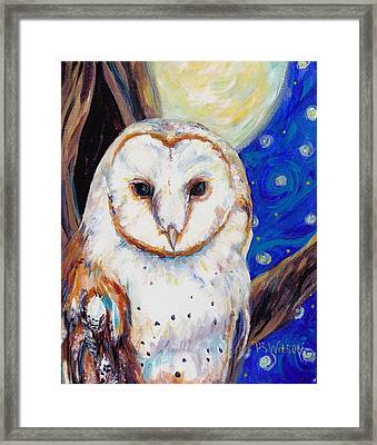 Barn Owl In Starry Night Framed Print by Peggy Wilson