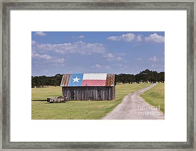 Barn Painted As The Texas Flag Framed Print by Jeremy Woodhouse
