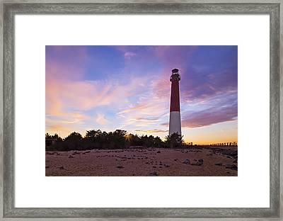 Barnegat Bay Light Sunset Framed Print by Susan Candelario