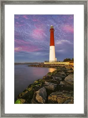 Barnegat Bay Lighthouse Sunset Framed Print by Susan Candelario