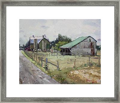Barns And Old Shack In Norval Framed Print by Ylli Haruni