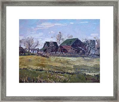 Barns In Niagara County Framed Print by Ylli Haruni