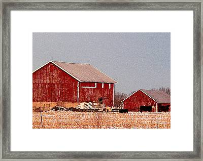 Barns In Winter Framed Print by David Bearden
