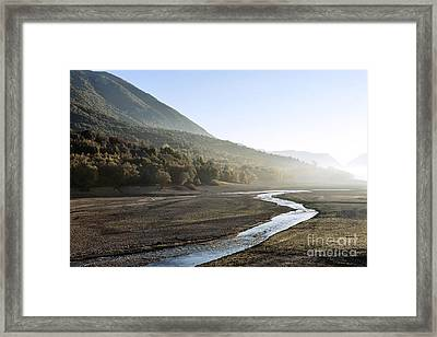 Barrea Lake Without Water Framed Print by Luigi Morbidelli