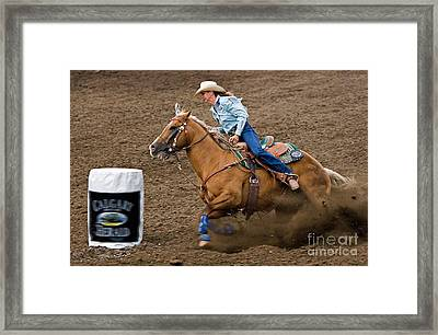 Barrel Racing Framed Print by Louise Heusinkveld