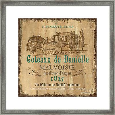 Barrel Wine Label 2 Framed Print by Debbie DeWitt