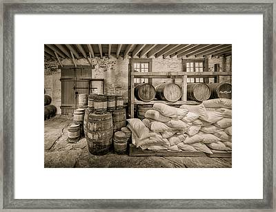 Barrels And Sacks Framed Print by James Barber