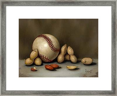 Baseball And Penuts Framed Print by Clinton Hobart