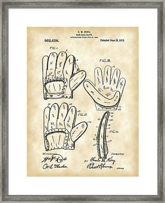 Baseball Glove Patent 1909 - Vintage Framed Print by Stephen Younts