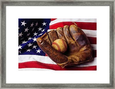 Baseball Mitt And American Flag Framed Print by Garry Gay