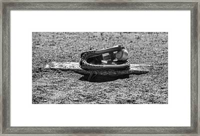 Baseball - On The Pitchers Mound In Black And White Framed Print by Bill Cannon