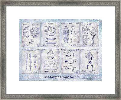 Baseball Patent History Blueprint Framed Print by Jon Neidert