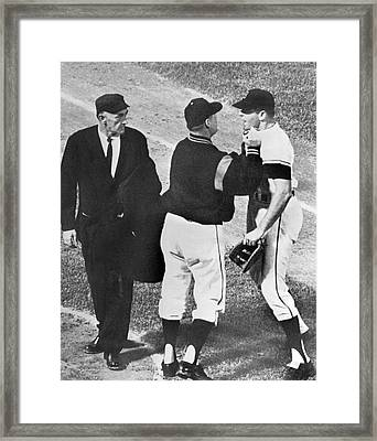 Baseball Player Ejected Framed Print by Underwood Archives