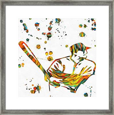 Baseball Player Paint Splatter Framed Print by Dan Sproul