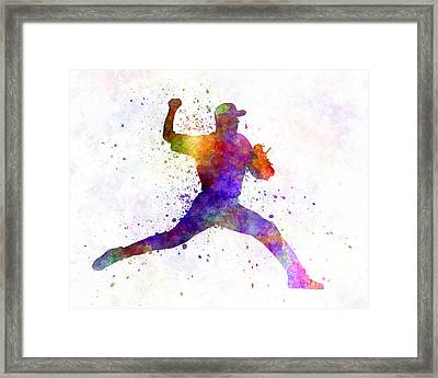 Baseball Player Throwing A Ball 01 Framed Print by Pablo Romero
