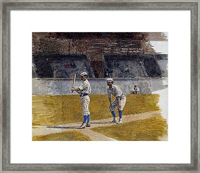 Baseball Players Practicing Framed Print by Thomas Eakin