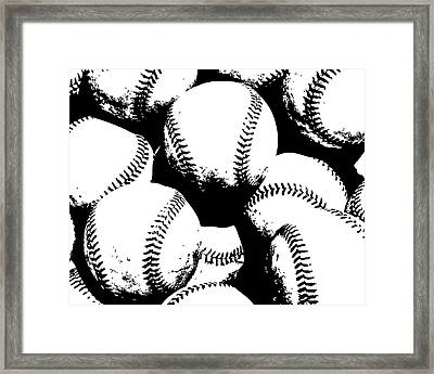 Baseball Poster Black White Framed Print by Flo Karp