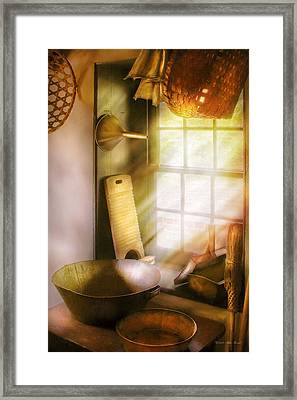 Basket Maker - In A Basket Makers House  Framed Print by Mike Savad