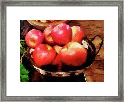 Basket Of Apples In Kitchen Framed Print by Susan Savad
