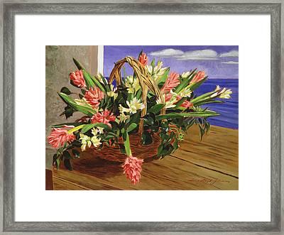 Basket Of Hyacinths Framed Print by David Lloyd Glover