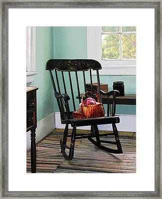 Basket Of Yarn On Rocking Chair Framed Print by Susan Savad
