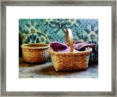 Basket With Knitting Framed Print by Susan Savad