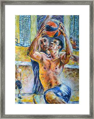 Basketball. In The Attack Framed Print by Evgeni Bazelevski