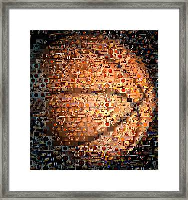Basketball Mosaic Framed Print by Paul Van Scott