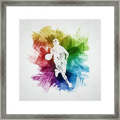 Basketball Player Art 02 Framed Print by Aged Pixel