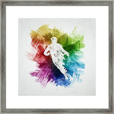 Basketball Player Art 08 Framed Print by Aged Pixel